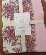 "NWT WILLIAMS-SONOMA NAPPE Scarf Print Tablecloth 70"" x 108"" Pink COTTON Paisley"