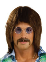 1960s 60s Beatles Sergeant Pepper Hippy Pop Star Brown Wig Fancy Dress Accessory