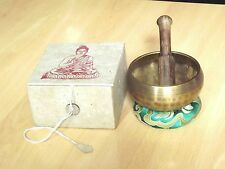 Tibetan Singing Bowl Buddhism Chakra Boxed Gift Set with Folding Stick Nepal