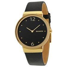 New Skagen Women's Freja Gold Tone Black Dial Leather Band Strap Watch SKW2370