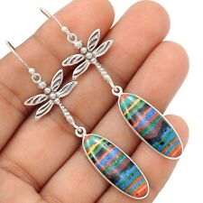 Dragonfly - Rainbow Calsilica 925 Sterling Silver Earrings Jewelry SE106287