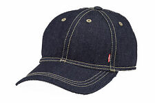 MENS LEVIS DENIM BASEBALL CAP WITH LEVIS RED TAB ON SIDE - INDIGO BLUE DENIM