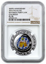 2016 Palau $1 Silver 500 Yrs Bavarian Purity Law Beer Cap NGC PL70 SKU41896