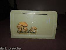Old Vintage Retro Olive Green Metal Primitive Country Bread Box With Mushrooms