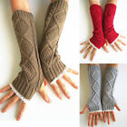 Glamour Women Wrist Arm Hand Warmer Knitted Lace Long Fingerless Gloves Mittens