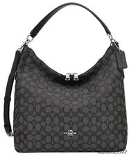 NWT Coach F55365 Outline Signature Celeste Convertible Hobo Black Smoke