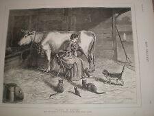 Onorevoli in attesa da S e WALLER 1876 Old Print COW Milkmaid GATTO e gattini