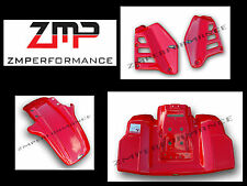 NEW HONDA ATC250R 85-86 PLASTIC FIGHTING RED FRONT AND REAR FENDER SET + SCOOPS