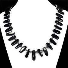 "Natural Black Onyx 20"" Necklace Ladies Handmade Gemstone Jewellery Tantric Tokyo"