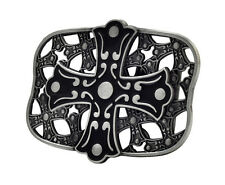 Black Celtic Iron Cross Maltese Belt Buckle Painted Metal Cool Gothic Uniqu
