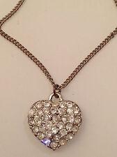pendentif chaine vintage couleur argent coeur relief cristaux diamant 265