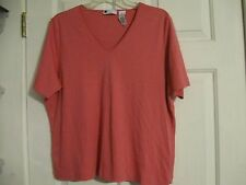 t-shirt knit top pink v-neck carole little woman 1x 100% pima cotton