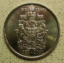 1952-2002  Canada Golden Jubilee 50 Cents coin, uncirculated, double date