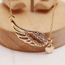 Femmes Or Angel Wings Pendentif Crystal Strass Charm Chain Collier Bijoux Mode