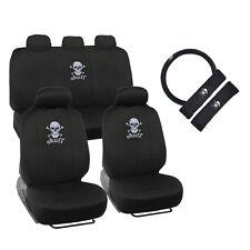 New White Skull Car Front Back Seat Covers & Steering Wheel Cover Full Set