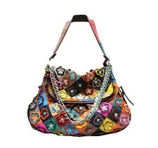 Genuine Leather Multi-Color Flower  Oversized Satchel Purse Handbag Hobo Patch