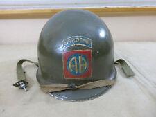 US WW2 82nd AIRBORNE PARA VET TOUR HELMET Paratrooper M1 Stahlhelm ARDENNEN #126