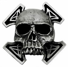 Skull Belt Buckle Death Totenkopf & Cross Heavy & Fully 3D Gothic Bones Pagan