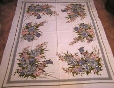 Vintage Tablecloth Simtex Huge Garden Flower Bouquets Grey Blue Pink