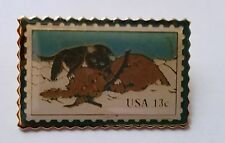 VINTAGE USPS STAMP PUPPY AND KITTEN CAT AND DOG USA 13c LAPEL HAT PIN