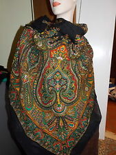 "Vintage Black Multicolor Paisley Print Wool 50"" Scarf Shawl Wrap Japan"