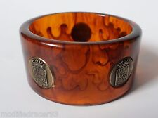 Bakelite Bangle Bracelet Root Beer Brass Cadillac Crest Emblem Inlay Chunky