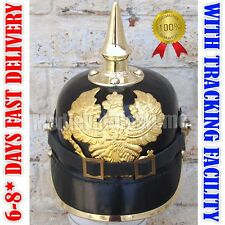 German Leather Prussian Pikelhaube Helmet WW1WW2 Officer Costume W/ Free Stand R