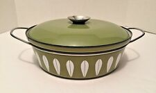 Catherineholm Norway Enameled Metal Covered Casserole White Avocado Grn Handles
