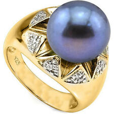 9.49 CTW GENUINE DIAMOND & BLACK PEARL PLATINUM OVER 0.925 STERLING SILVER RING