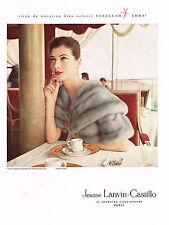 PUBLICITE ADVERTISING 054  1957  JEANNE LANVIN-CASTILLO   boutique fourrure EMBA