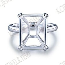 Cushion 14x11-15x11mm Semi Mount Sterling Silver Plate White Gold Ring Setting