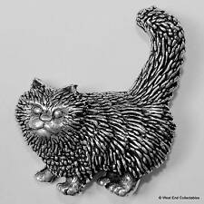 Standing Cat Pewter Pin Brooch -British Handcrafted- Kitten Cat Gift Present