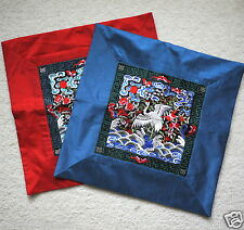 NEW 2 Chinese New Year Embroidery Crane Cushion Pillow Covers Cases Red & Blue