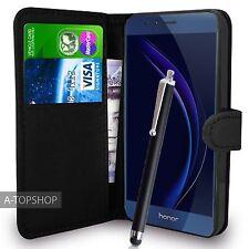 Portafoglio Nero Custodia PU Pelle Book Cover per Huawei Honor 8 Cellulare