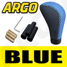 BLUE & BLACK LEATHER CAR GEAR SHIFT LEVER KNOB FIAT GRANDE PUNTO