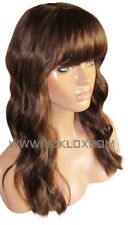Human Hair Blend Wig Glueless Front Lace 18 Long Brown 3 4 Silk Top Fringe Bangs