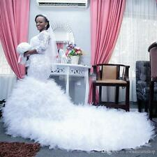 New African Mermaid with Long Train Wedding Dress Bridal Gown Custom 2 4 6 8 10