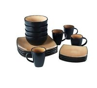 Square Dinnerware Set 16 Piece Taupe Black Stoneware Plates Bowls 4 PC Setting