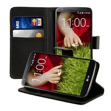 Black PU Leather Cash Card Wallet Purse Phone Case Cover Stand for LG G2