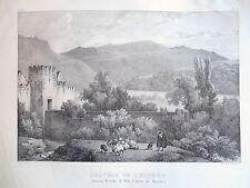 Lithographie  Château de Zwingen- Suisse- Engelmann Villeneuve - Circa 1830