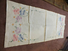 Beautiful Embroidered Doily Table Runner White 36x16 In Blues Greens Pinks NICE
