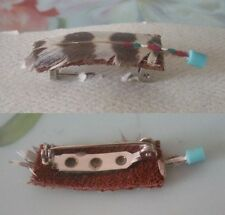 Vintage FEATHER Turquoise Bead Suede Leather Backing Pin Artisan Original Card