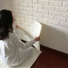 White 3D Bricks Seft Adhesive Wall Sticker Soft Foam Panels Wallpaper Decor Art