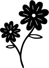 "Daisy Flower Car Window Decor Vinyl Decal Sticker- 6"" Tall White"