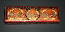Old papermache / wood type box with oriental design .