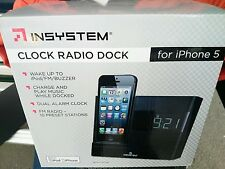 New INSYSTEM Clock radio dock FM+Charger+dual alarm+ music + Free shipping.