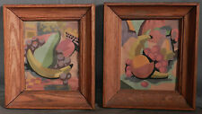 Pair Vintage 1960's Cubist Miniature Oil paintings Fruit Still Life  Abstract