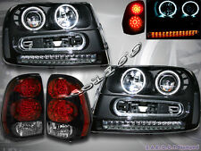 02-09 CHEVY TRAILBLAZER CCFL HALO RIM PROJECTOR BLK HEADLIGHTS + LED TAIL LIGHTS