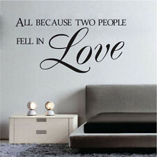 All Because Two People Fall In Love Quote Home Bedroom Remantic Wall Sticker