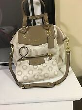 Coach Ashley Dotted Op Art  Beige Taupe Satchel 25183 and Large Wristel